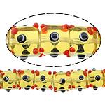 Beads Lampwork me gunga, Kub, asnjë, i verdhë, 12x16x16mm, : 2mm, :10Inç, 5Fillesat/Shumë,  Shumë