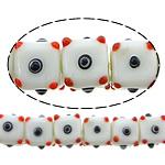 Beads Lampwork me gunga, Kub, asnjë, e bardhë, 12x16x16mm, : 2mm, :10Inç, 5Fillesat/Shumë,  Shumë