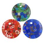 Lampwork Millefiori Fetë Pendants, Round Flat, punuar me dorë, me fetë Millefiori, ngjyra të përziera, 45x7mm, : 4.5mm, 50PC/Qese,  Qese