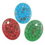 Lampwork Millefiori Fetë Pendants, Oval Flat, punuar me dorë, me fetë Millefiori, ngjyra të përziera, 38x49x7mm, : 4.5mm, 50PC/Qese,  Qese