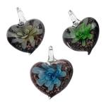 Pendants Inner Lampwork Lule, Zemër, punuar me dorë, lule e brendshme, ngjyra të përziera, 36x33x11mm, : 7x8mm, 12PC/Kuti,  Kuti