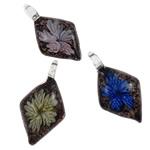 Pendants Inner Lampwork Lule, Romb, punuar me dorë, lule e brendshme, ngjyra të përziera, 30x47x12mm, : 7mm, 12PC/Kuti,  Kuti
