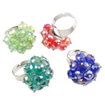 Ring Finger Crystal, Hekur, with Kristal, Shape Tjera, ngjyrë platin praruar, colorful kromuar, ngjyra të përziera, , nikel çojë \x26amp; kadmium falas, 27x37x27mm, :7.5, 50PC/Kuti,  Kuti
