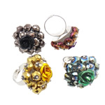 Ring Finger Crystal, Hekur, with Kristal & Alumin, Shape Tjera, ngjyrë platin praruar, colorful kromuar, ngjyra të përziera, , nikel çojë \x26amp; kadmium falas, 31x39x31.50mm, :7.5, 50PC/Kuti,  Kuti