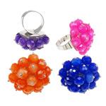 Ring Finger Crystal, Hekur, with Kristal, Shape Tjera, ngjyrë platin praruar, colorful kromuar, ngjyra të përziera, , nikel çojë \x26amp; kadmium falas, 33x35.50x32mm, :7.5, 50PC/Kuti,  Kuti