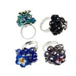 Ring Finger Crystal, Hekur, with Polymer Clay & Kristal, Shape Tjera, ngjyrë platin praruar, colorful kromuar, ngjyra të përziera, , nikel çojë \x26amp; kadmium falas, 28x38x28mm, :7.5, 50PC/Kuti,  Kuti