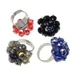 Ring Finger Crystal, Hekur, Shape Tjera, ngjyrë platin praruar, asnjë, ngjyra të përziera, , nikel çojë \x26amp; kadmium falas, 29x34x27mm, : 3mm, :7.5, 50PC/Kuti,  Kuti