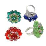Ring Finger Crystal, Hekur, Shape Tjera, ngjyrë platin praruar, asnjë, ngjyra të përziera, , nikel çojë \x26amp; kadmium falas, 31x36x31mm, :7.5, 50PC/Kuti,  Kuti