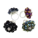 Ring Finger Crystal, Hekur, Shape Tjera, ngjyrë platin praruar, me diamant i rremë, ngjyra të përziera, , nikel çojë \x26amp; kadmium falas, 30x35x30mm, :7.5, 50PC/Kuti,  Kuti