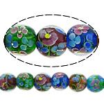 Beads dorë Lampwork, Round, asnjë, asnjë, multi-colored, 14mm, : 2mm, :10Inç, 5Fillesat/Shumë,  Shumë