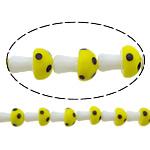 Beads dorë Lampwork, këpurdhë, asnjë, asnjë, multi-colored, 13x9mm, : 2mm, :10Inç, 10Fillesat/Shumë,  Shumë