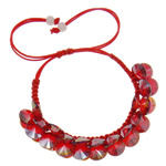 Crystal Shamballa Bracelets, Kristal, Shape Tjera, colorful kromuar, i tejdukshëm, Siam, 10x5mm, :7.5Inç, 12Fillesat/Qese,  Qese