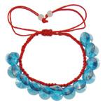 Crystal Shamballa Bracelets, Kristal, Shape Tjera, colorful kromuar, i tejdukshëm, Lt Sapphire, 10x5mm, :7.5Inç, 12Fillesat/Qese,  Qese