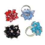 Ring Finger Crystal, Hekur, Shape Tjera, ngjyrë platin praruar, asnjë, ngjyra të përziera, , nikel çojë \x26amp; kadmium falas, 30x33x24mm, :7.5, 50PC/Kuti,  Kuti