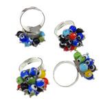 Ring Finger lampwork, with Hekur, Shape Tjera, ngjyrë platin praruar, asnjë, ngjyra të përziera, 27x35x26mm, :7.5, 50PC/Kuti,  Kuti