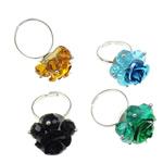 Ring Finger Crystal, Hekur, Shape Tjera, ngjyrë platin praruar, asnjë, ngjyra të përziera, , nikel çojë \x26amp; kadmium falas, 19x36x18mm, :6.5, 100PC/Kuti,  Kuti