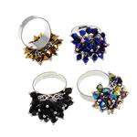 Ring Finger Crystal, Hekur, Shape Tjera, ngjyrë platin praruar, asnjë, ngjyra të përziera, , nikel çojë \x26amp; kadmium falas, 21x30x21mm, :7.5, 100PC/Kuti,  Kuti
