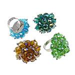 Ring Finger Crystal, Hekur, Shape Tjera, ngjyrë platin praruar, asnjë, ngjyra të përziera, , nikel çojë \x26amp; kadmium falas, 37x38x37mm, :7.5, 50PC/Kuti,  Kuti