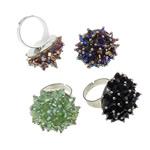 Ring Finger Crystal, Hekur, Shape Tjera, ngjyrë platin praruar, asnjë, ngjyra të përziera, , nikel çojë \x26amp; kadmium falas, 30x33x28mm, :7.5, 50PC/Kuti,  Kuti