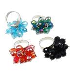 Ring Finger Crystal, Hekur, Shape Tjera, ngjyrë platin praruar, asnjë, ngjyra të përziera, , nikel çojë \x26amp; kadmium falas, 30x37x28mm, :7.5, 50PC/Kuti,  Kuti
