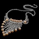 Natyrore kulturuar Pearl ujërave të ëmbla bizhuteri Sets, Pearl kulturuar ujërave të ëmbla, with Diamant i rremë, Round, natyror, rozë, 8-9mm, 42mm, :17.5Inç,  I vendosur