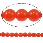 Glass Beads Moda, Xham, Round, i lyer, asnjë, i kuq, 8mm, : 1mm, : 31.4Inç, 10Fillesat/Qese,  Qese