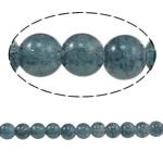 Glass Beads kërcitje, Xham, Round, asnjë, blu e zezë, 8mm, : 1.5mm, : 31.4Inç, 10Fillesat/Qese,  Qese