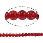 Glass Beads kërcitje, Xham, Round, asnjë, kuqe të thellë, 6mm, : 1mm, : 31.4Inç, 10Fillesat/Qese,  Qese