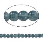Glass Beads kërcitje, Xham, Round, asnjë, blu e zezë, 6mm, : 1.5mm, : 31.4Inç, 10Fillesat/Qese,  Qese