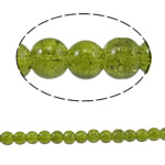 Glass Beads kërcitje, Xham, Round, asnjë, jeshile ulliri, 6mm, : 1.5mm, : 31.4Inç, 10Fillesat/Qese,  Qese