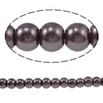 Pjekje llak Glass Beads, Xham, Round, stoving llak, asnjë, ngjyrë të thellë kafe, 4mm, : 1mm, : 32Inç, 10Fillesat/Qese,  Qese