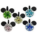 Pendants Inner Lampwork Lule, Mickey Mouse, asnjë, lule e brendshme, ngjyra të përziera, 40x39mm, : 7mm, 50PC/Shumë,  Shumë