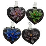 Pendants Inner Lampwork Lule, Zemër, asnjë, lule e brendshme, ngjyra të përziera, 31x39x16mm, : 7mm, 50PC/Shumë,  Shumë