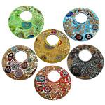Lampwork Millefiori Fetë Pendants, Round Flat, asnjë, me fetë Millefiori, ngjyra të përziera, 53x53x9mm, : 19mm, 20PC/Shumë,  Shumë