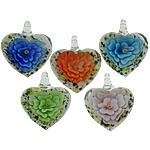 Pendants Inner Lampwork Lule, Zemër, asnjë, lule e brendshme, ngjyra të përziera, 32x38x15mm, : 7mm, 50PC/Shumë,  Shumë