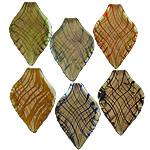 Pendants Lampwork Fashion, Gjethe, asnjë, pluhur ari, ngjyra të përziera, 37x61x4.50mm, : 7mm, 20PC/Shumë,  Shumë