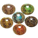 Rërë Pendants Gold Lampwork, Monedhë, asnjë, rërë ari, ngjyra të përziera, 45x45x11mm, : 8mm, 50PC/Shumë,  Shumë