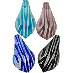Pendants Silver Lampwork petë, Lot, asnjë, petë argjendi, ngjyra të përziera, 35x68x10.50mm, : 11mm, 20PC/Shumë,  Shumë