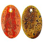 Rërë Pendants Gold Lampwork, Oval Flat, asnjë, rërë ari, ngjyra të përziera, 34x60x9mm, : 4.5mm, 50PC/Shumë,  Shumë
