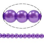 Einbrennlack Glasperlen, Glas, rund, violett, 8mm, Bohrung:ca. 1.5mm, Länge:ca. 28.3 ZollInch, 10SträngeStrang/Tasche, verkauft von Tasche