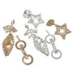 Vath bronzi Drop Komponenti, Tunxh, Shape përziera, asnjë, me diamant i rremë, ngjyra të përziera, , nikel çojë \x26amp; kadmium falas, 38-59mm, : 1-2mm, 25Çiftet/Qese,  Qese