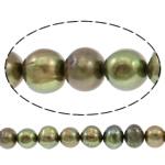 Patates Beads ujërave të ëmbla kulturuar Pearl, Pearl kulturuar ujërave të ëmbla, i lyer, bizele jeshile, 10-11mm, : 0.8mm, : 14.3Inç,  14.3Inç,