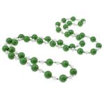 Jug Deti Shell gjerdan, with Kristal & Tunxh, Round, sintetik, asnjë, e gjelbër, 10mm, :32Inç, 12Fillesat/Qese,  Qese