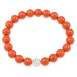 Jug Deti Shell Bracelets, Shape Tjera, sintetik, asnjë, kuq pak portokalli, 8mm, :7.5Inç, 12Fillesat/Qese,  Qese