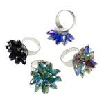 Ring Finger Crystal, Hekur, with Kristal, Shape Tjera, ngjyrë platin praruar, colorful kromuar, ngjyra të përziera, , nikel çojë \x26amp; kadmium falas, 27x35x27mm, : 4.5mm, :7.5, 50PC/Kuti,  Kuti