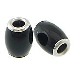 Beads Natyrore Zi agat, Black agat, Daulle, ngjyrë platin praruar, asnjë, 10.50x15mm, : 4mm, 10PC/Shumë,  Shumë
