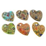Lampwork Millefiori Fetë Pendants, Zemër, asnjë, me fetë Millefiori, ngjyra të përziera, 43x51x10mm, : 5.2mm, 50PC/Qese,  Qese