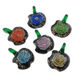 Pendants Inner Lampwork Lule, Mollë, asnjë, lule e brendshme, ngjyra të përziera, 31x39x12mm, : 7.2mm, 50PC/Qese,  Qese
