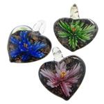 Pendants Inner Lampwork Lule, Zemër, asnjë, lule e brendshme, ngjyra të përziera, 32x38x15mm, : 6.5mm, 50PC/Qese,  Qese