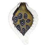 Lampwork Millefiori Fetë Pendants, Gjethe, asnjë, me fetë Millefiori, e bardhë, 43.80x68x7mm, : 11mm, 30PC/Qese,  Qese